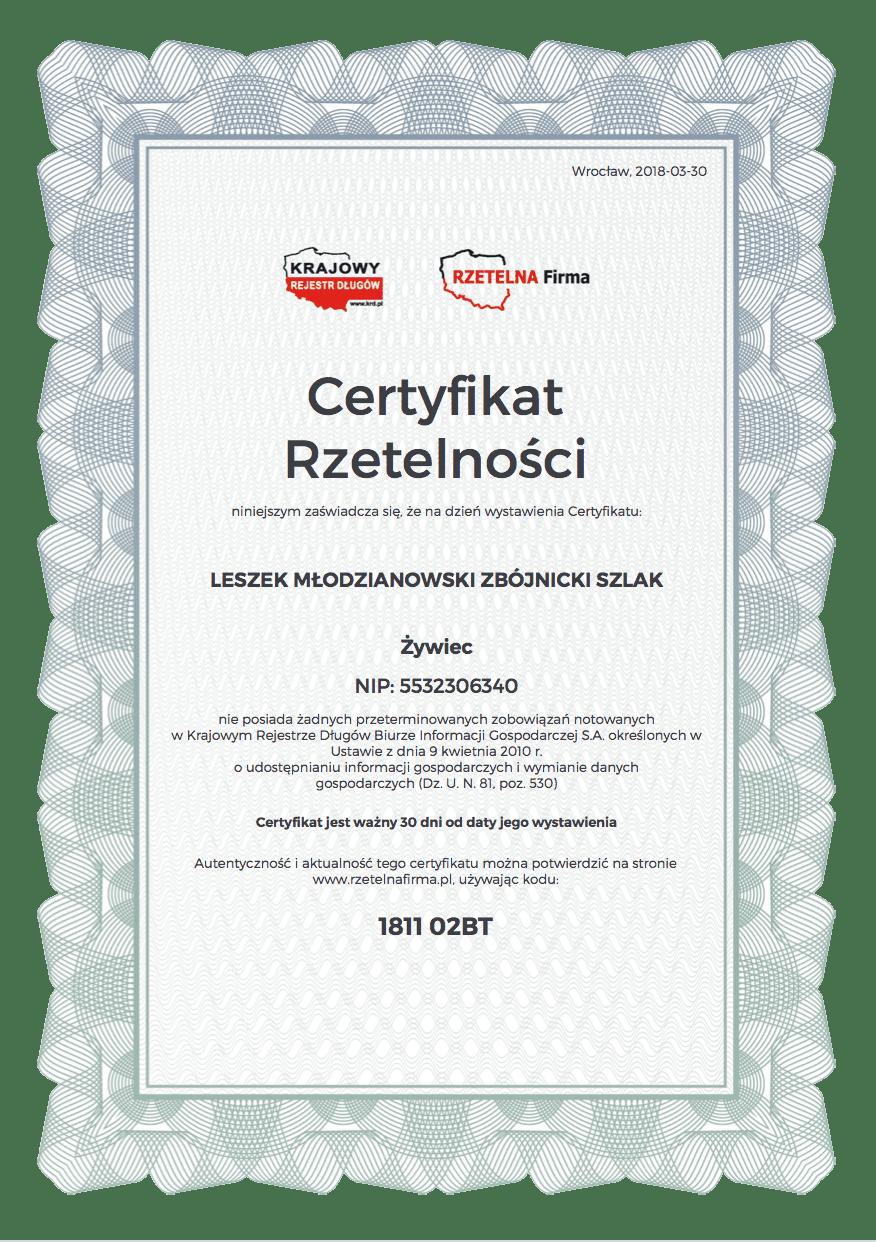certyfikat - Dokumenty Firmy