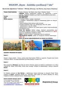 """Wycieczka Włochy Wenecja Asyż Rzym Watykan 7 dni doc1 212x300 - WŁOCHY """"Rzym – kolebka cywilizacji"""""""
